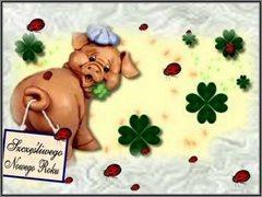 Szczęśliwego Nowego Roku - świnka