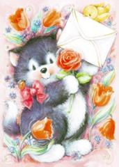 Kotek koperta i kwiatki