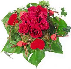 Róże z zielonymi liśćmi