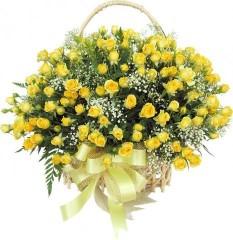 Duży bukiet żółtych róż