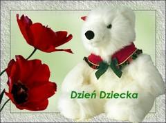 Dzień dziecka miś i kwiatek