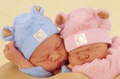 Niebiesko różowe czapeczki