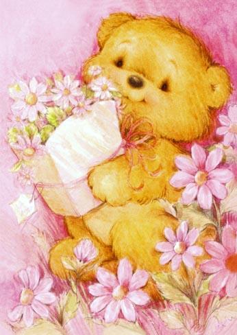Miś z kwiatkami