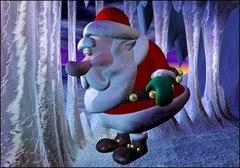 Mikołaj przy soplach lodu