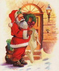 Mikołaj czytający listę prezentów