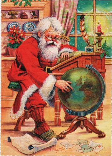 Mikołaj wskazujący drogę na globusie