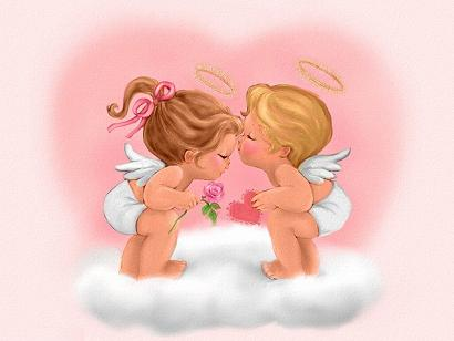 Dwa całujące się aniołki